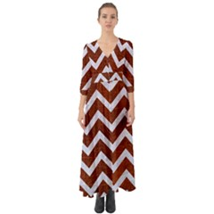 Chevron9 White Marble & Reddish Brown Leather Button Up Boho Maxi Dress