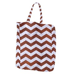 Chevron3 White Marble & Reddish Brown Leather Giant Grocery Zipper Tote by trendistuff