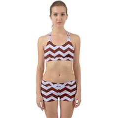Chevron3 White Marble & Reddish Brown Leather Back Web Gym Set