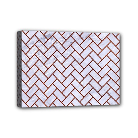 Brick2 White Marble & Reddish Brown Leather (r) Mini Canvas 7  X 5  by trendistuff