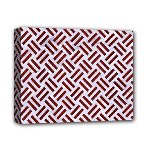 Woven2 White Marble & Red Wood (r) Deluxe Canvas 14  X 11  by trendistuff