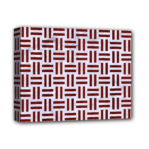 Woven1 White Marble & Red Wood (r) Deluxe Canvas 14  X 11  by trendistuff