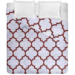 Tile1 White Marble & Red Wood (r) Duvet Cover Double Side (california King Size) by trendistuff