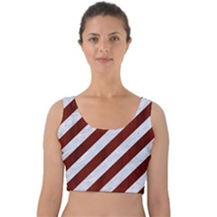 Stripes3 White Marble & Red Wood (r) Velvet Crop Top