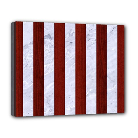 Stripes1 White Marble & Red Wood Deluxe Canvas 20  X 16   by trendistuff