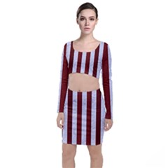 Stripes1 White Marble & Red Wood Long Sleeve Crop Top & Bodycon Skirt Set