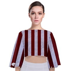 Stripes1 White Marble & Red Wood Tie Back Butterfly Sleeve Chiffon Top