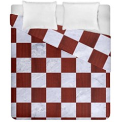 Square1 White Marble & Red Woodsquare1 White Marble & Red Wood Duvet Cover Double Side (california King Size) by trendistuff