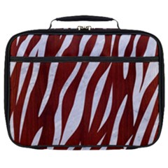 Skin3 White Marble & Red Wood Full Print Lunch Bag
