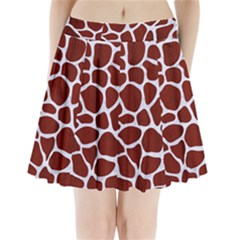 Skin1 White Marble & Red Wood (r) Pleated Mini Skirt