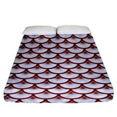 Scales3 White Marble & Red Wood (r) Fitted Sheet (king Size) by trendistuff