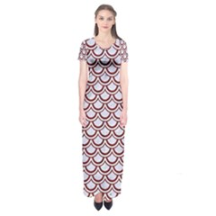 Scales2 White Marble & Red Wood (r)scales2 White Marble & Red Wood (r) Short Sleeve Maxi Dress by trendistuff