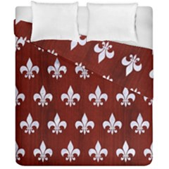 Royal1 White Marble & Red Wood (r) Duvet Cover Double Side (california King Size) by trendistuff