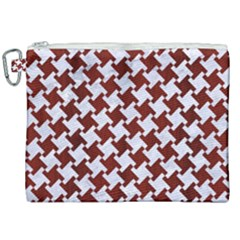 Houndstooth2 White Marble & Red Wood Canvas Cosmetic Bag (xxl) by trendistuff
