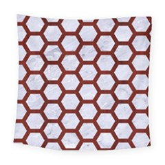 Hexagon2 White Marble & Red Wood (r) Square Tapestry (large) by trendistuff