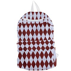 Diamond1 White Marble & Red Wood Foldable Lightweight Backpack by trendistuff