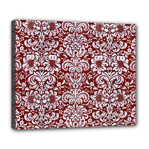 Damask2 White Marble & Red Wood Deluxe Canvas 24  X 20   by trendistuff