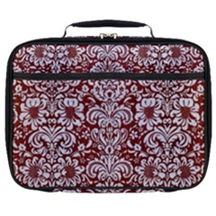Damask2 White Marble & Red Wood Full Print Lunch Bag