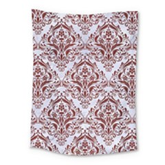 Damask1 White Marble & Red Wood (r) Medium Tapestry by trendistuff