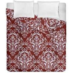 Damask1 White Marble & Red Wood Duvet Cover Double Side (california King Size) by trendistuff