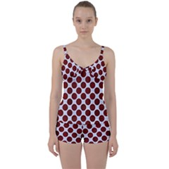 Circles2 White Marble & Red Wood (r) Tie Front Two Piece Tankini