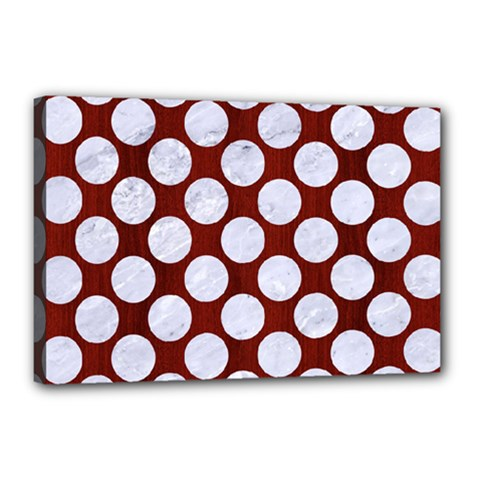 Circles2 White Marble & Red Wood Canvas 18  X 12  by trendistuff