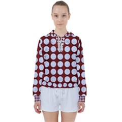 Circles1 White Marble & Red Wood Women s Tie Up Sweat