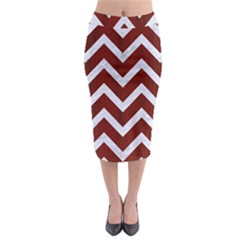 Chevron9 White Marble & Red Wood Midi Pencil Skirt by trendistuff