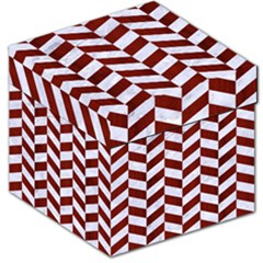 Chevron1 White Marble & Red Wood Storage Stool 12   by trendistuff