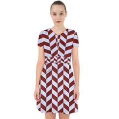 Chevron1 White Marble & Red Wood Adorable In Chiffon Dress