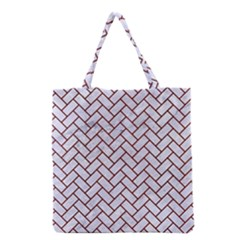 Brick2 White Marble & Red Wood (r) Grocery Tote Bag by trendistuff