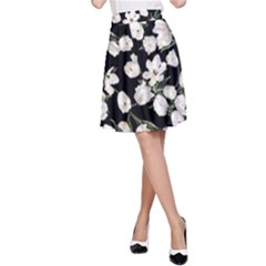 White Tulip Print A Line Skirt