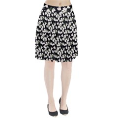 White Tulip Print Pleated Skirt