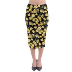 Yellow Tulip Print Midi Pencil Skirt