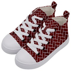 Brick2 White Marble & Red Wood Kid s Mid Top Canvas Sneakers by trendistuff