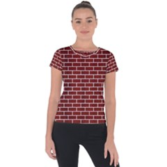 Brick1 White Marble & Red Wood Short Sleeve Sports Top
