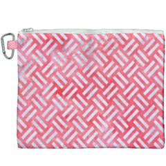 Woven2 White Marble & Red Watercolor Canvas Cosmetic Bag (xxxl) by trendistuff