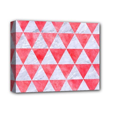 Triangle3 White Marble & Red Watercolor Deluxe Canvas 14  X 11  by trendistuff