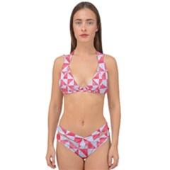 Triangle1 White Marble & Red Watercolor Double Strap Halter Bikini Set