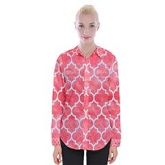 Tile1 White Marble & Red Watercolor Womens Long Sleeve Shirt