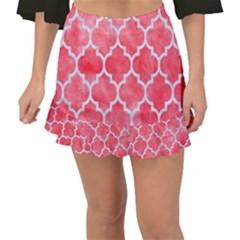 Tile1 White Marble & Red Watercolor Fishtail Mini Chiffon Skirt