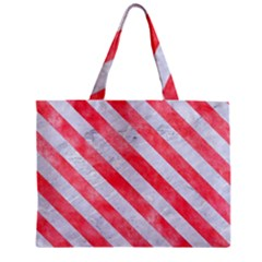 Stripes3 White Marble & Red Watercolor Zipper Mini Tote Bag by trendistuff