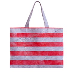 Stripes2white Marble & Red Watercolor Zipper Mini Tote Bag by trendistuff