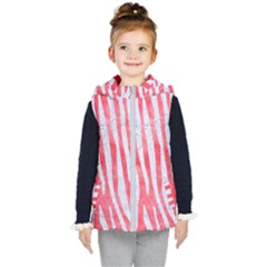 Skin4 White Marble & Red Watercolor (r) Kid s Hooded Puffer Vest
