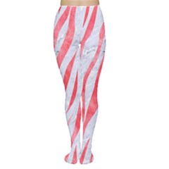Skin3 White Marble & Red Watercolor (r) Women s Tights