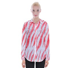 Skin3 White Marble & Red Watercolor (r) Womens Long Sleeve Shirt
