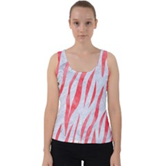 Skin3 White Marble & Red Watercolor (r) Velvet Tank Top