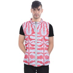 Skin2 White Marble & Red Watercolor (r) Men s Puffer Vest