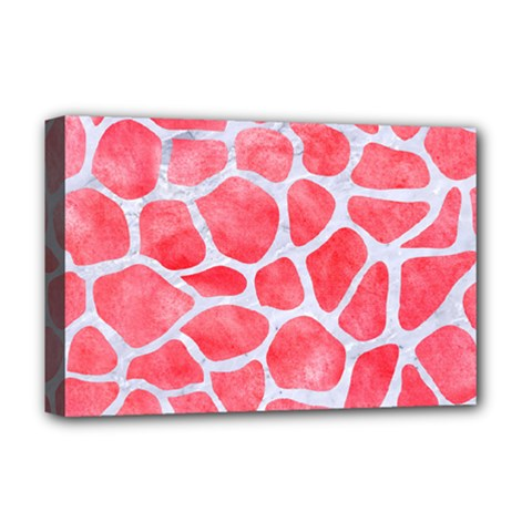 Skin1 White Marble & Red Watercolor (r) Deluxe Canvas 18  X 12   by trendistuff