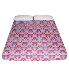 Scales2 White Marble & Red Watercolor (r) Fitted Sheet (california King Size) by trendistuff